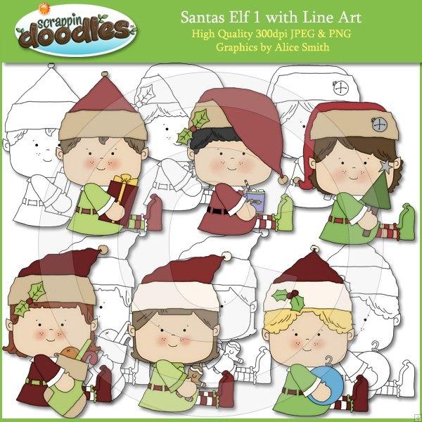 Santas Elf 1 Clip Art with Line Art | Clip Art | Pinterest