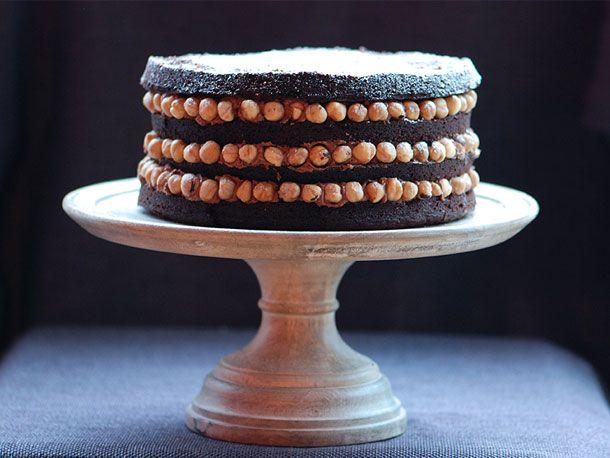 Chocolate Hazelnut Cake with a Hazelnut Cream Cheese mousse filling.