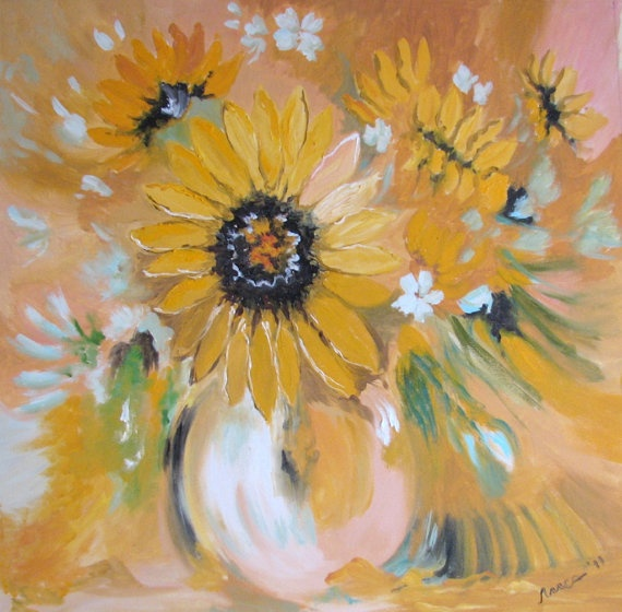 Oil Painting on canvas - Sunflowers In A Vase, Flowers Painting, on