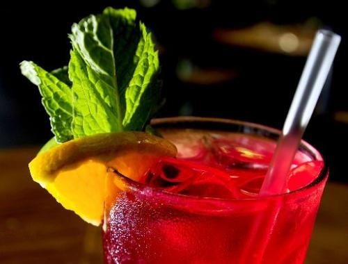 brewed hibiscus tea, simple syrup with muddled mint, lemon juice, lime ...