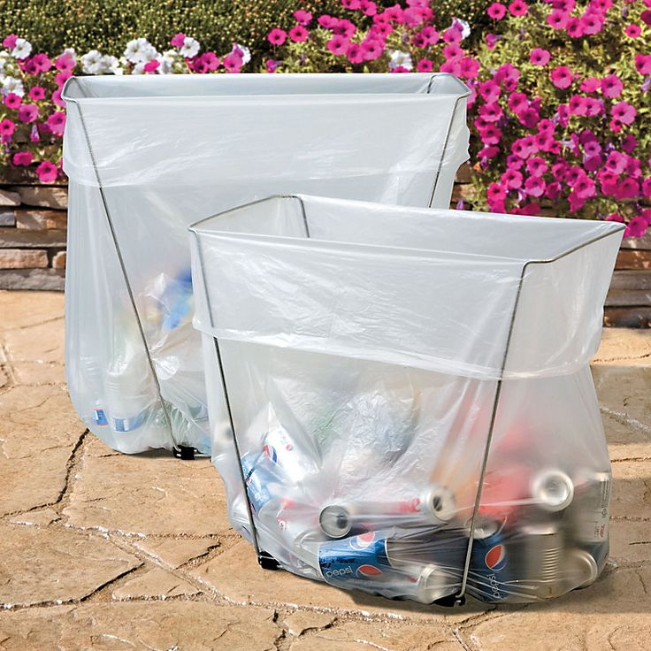 Recycle and trash bag holders for camping, outdoor parties and tailgating.