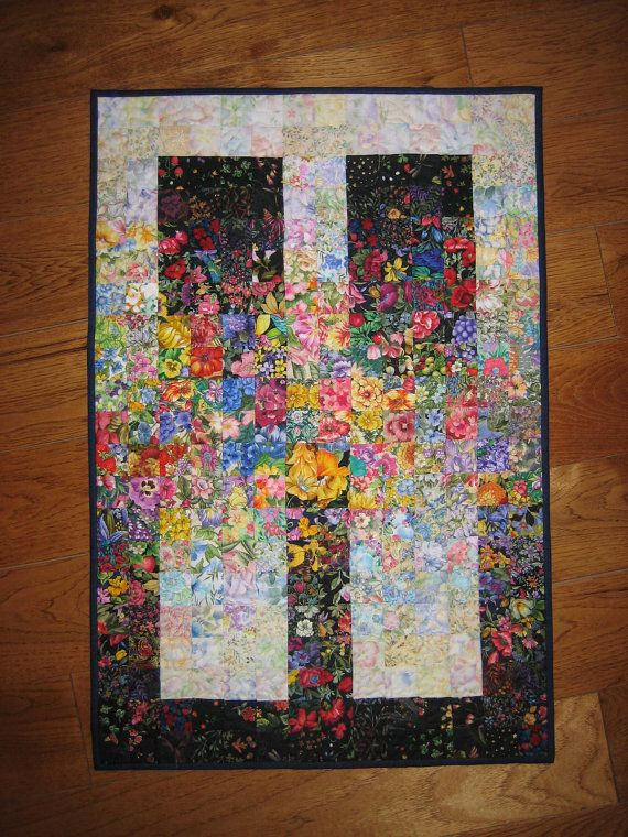 Art quilt garden window quilted fabric wall hanging for Fabric wall art