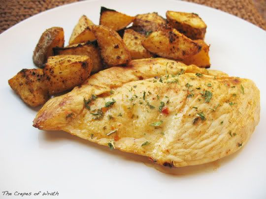 ... paired with crispy roasted potatoes tossed in the same mix of spices