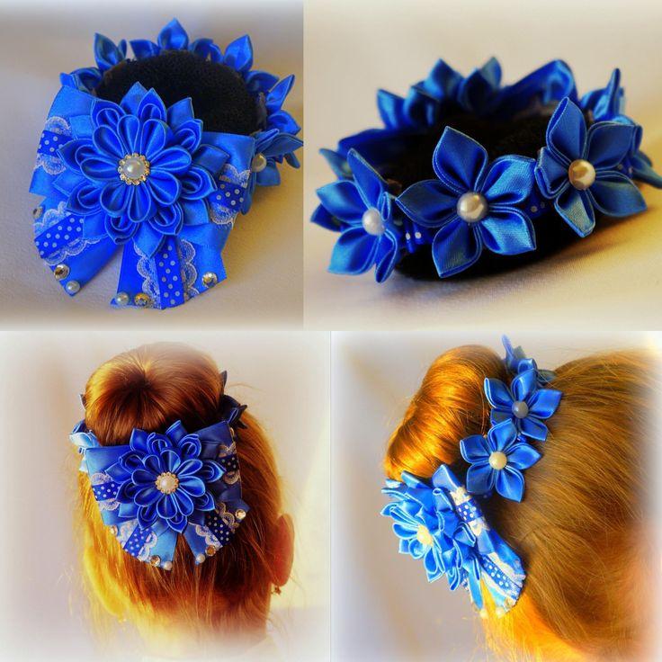 Резинка на пучок для волос своими руками сине белого цвета 71