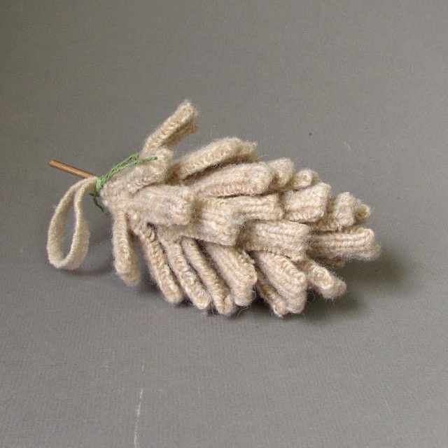 Pine Cone Knitting Pattern : Pine Cone made with Wool Sweater Ribbing ? Pinecones Pinterest