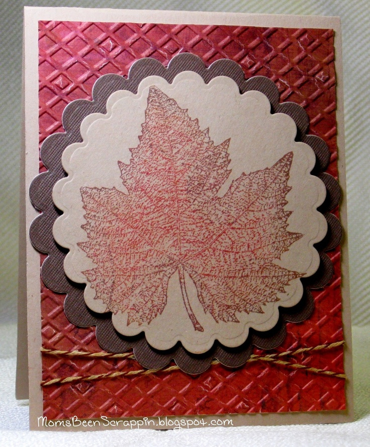 Autumn Leaf Rubber Stamp card
