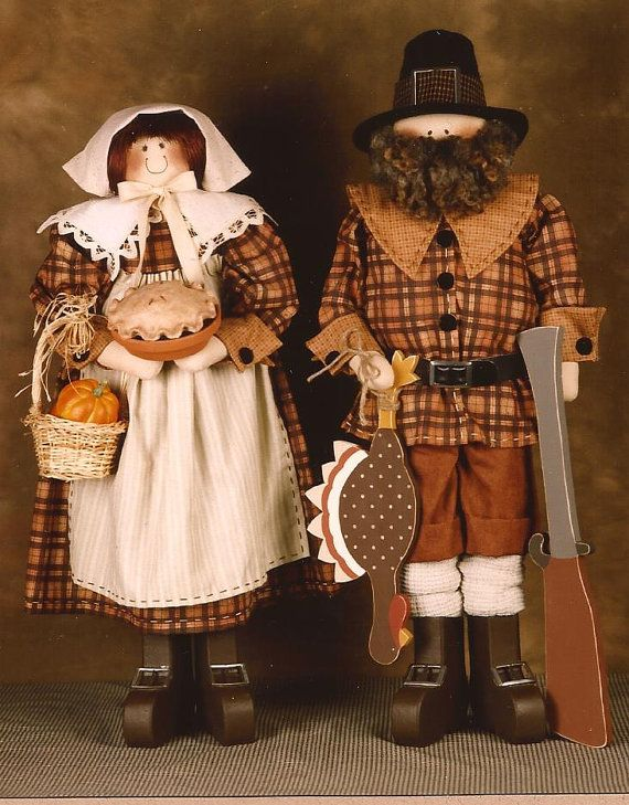 Pilgrim Couple Fabric and Wood Doll Pattern Thanksgiving