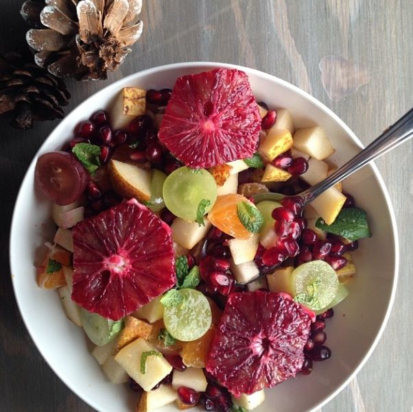 Winter Fruit Salad with breakfast this morning: pomegranate, pear ...