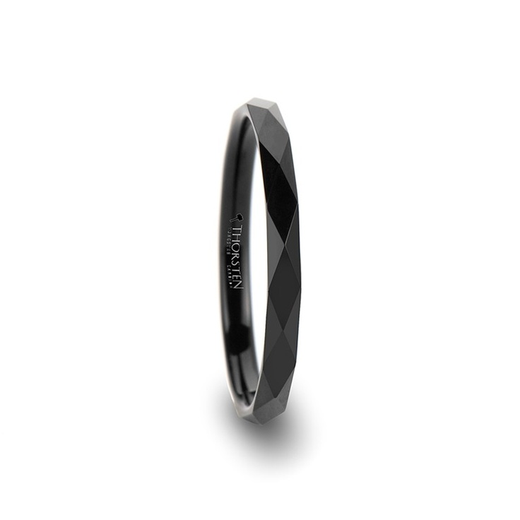 somerset faceted 2mm black tungsten ring for