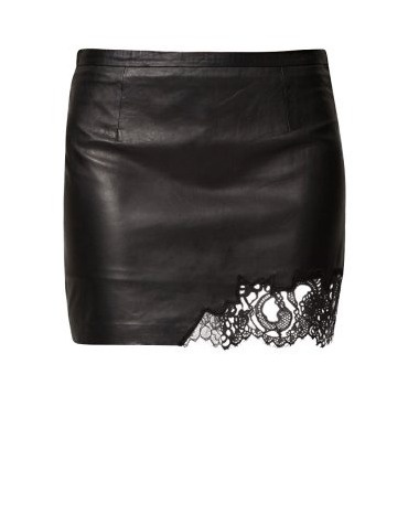 Loiza skirt by Patrizia Pepe in leather and lace