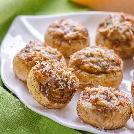 Stuffed Parmesan Mushrooms Recipe -- Stuffed mushroom caps with ...