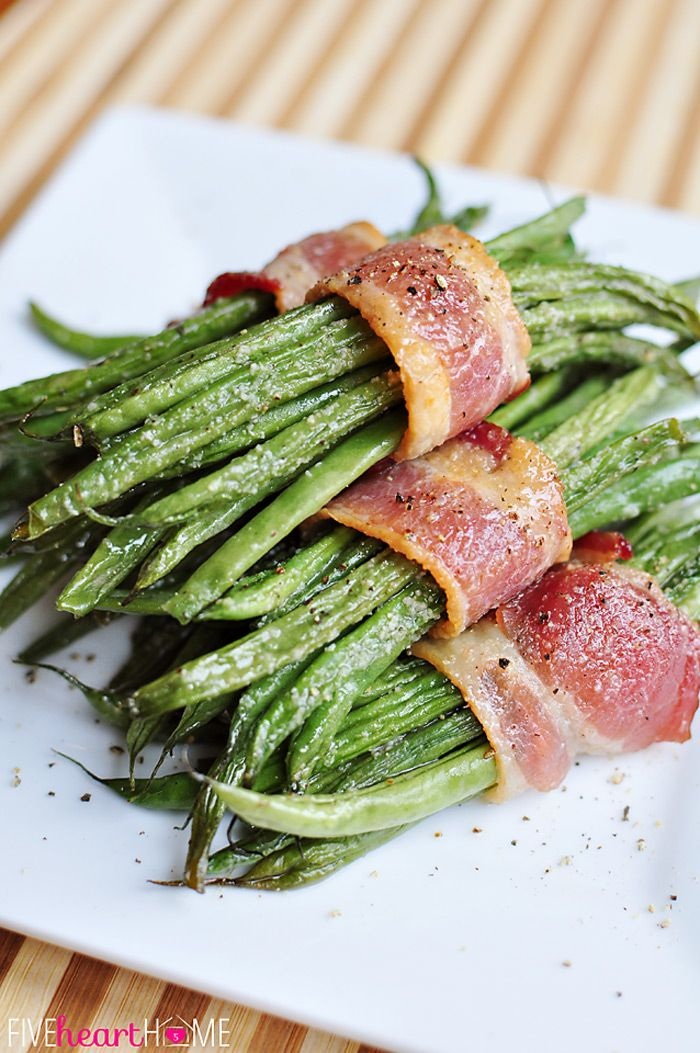 Bacon Green Bean Bundles with Brown Sugar Glaze | {Five Heart Home}