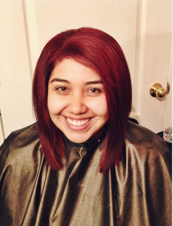 Rich red Aline bob. Lob = long bob. Rich red hair.
