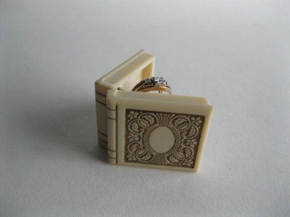 vintage 1930s ring box book floral wedding engagement 1940s