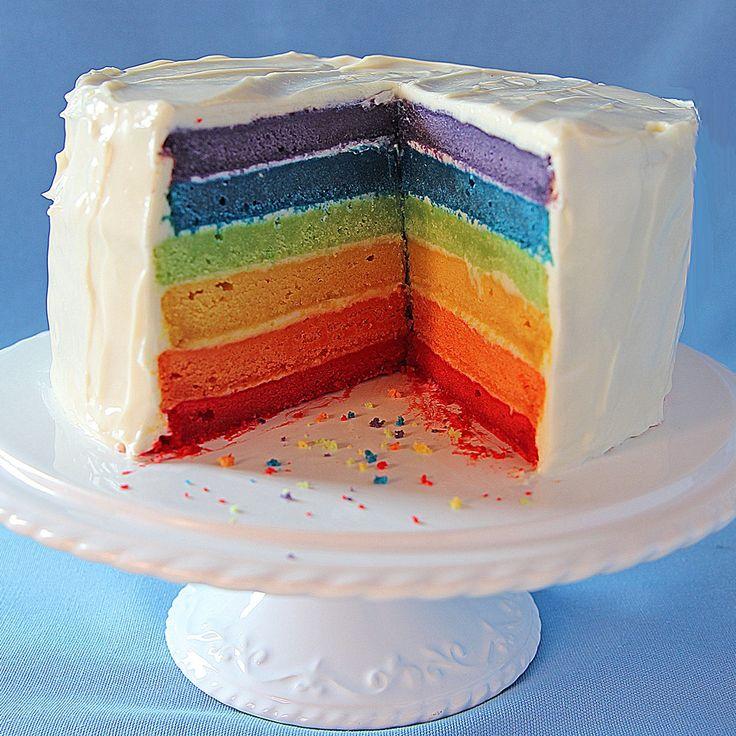 Rainbow layer cake recipe | BakingMad