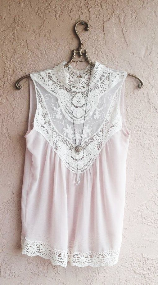Nude Blush camisole with lace and crochet front