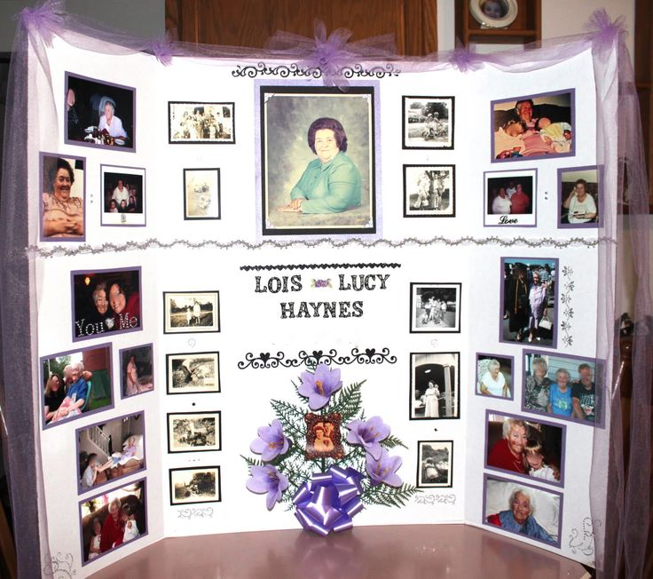Poster board collage for funeral ideas
