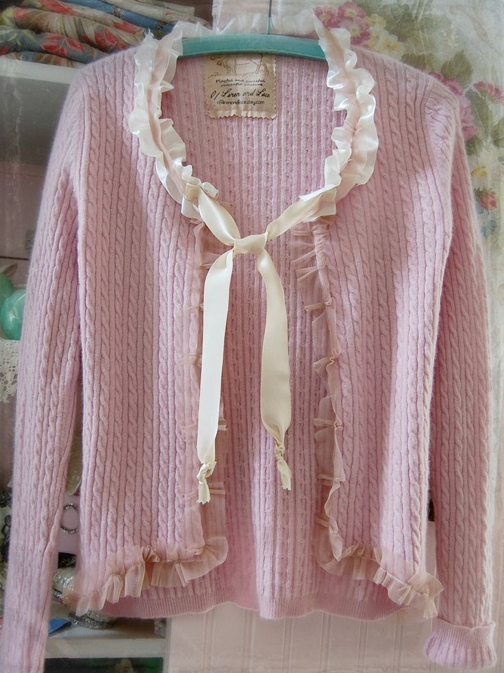 Pink Cashmere Sweater Wool Cardigan Soft Womens Clothing XS Altered