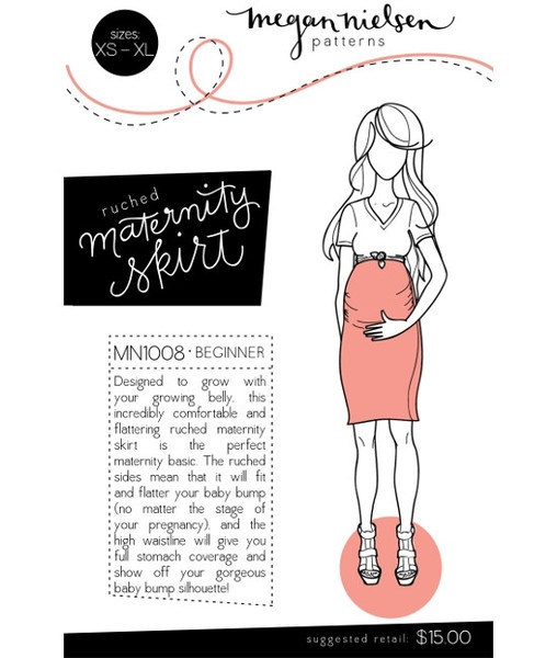 Ruched maternity skirt sewing pattern