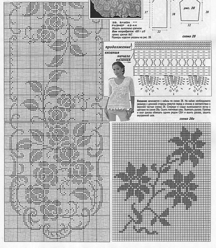 Схемы вязания моделей филейным вязанием 131