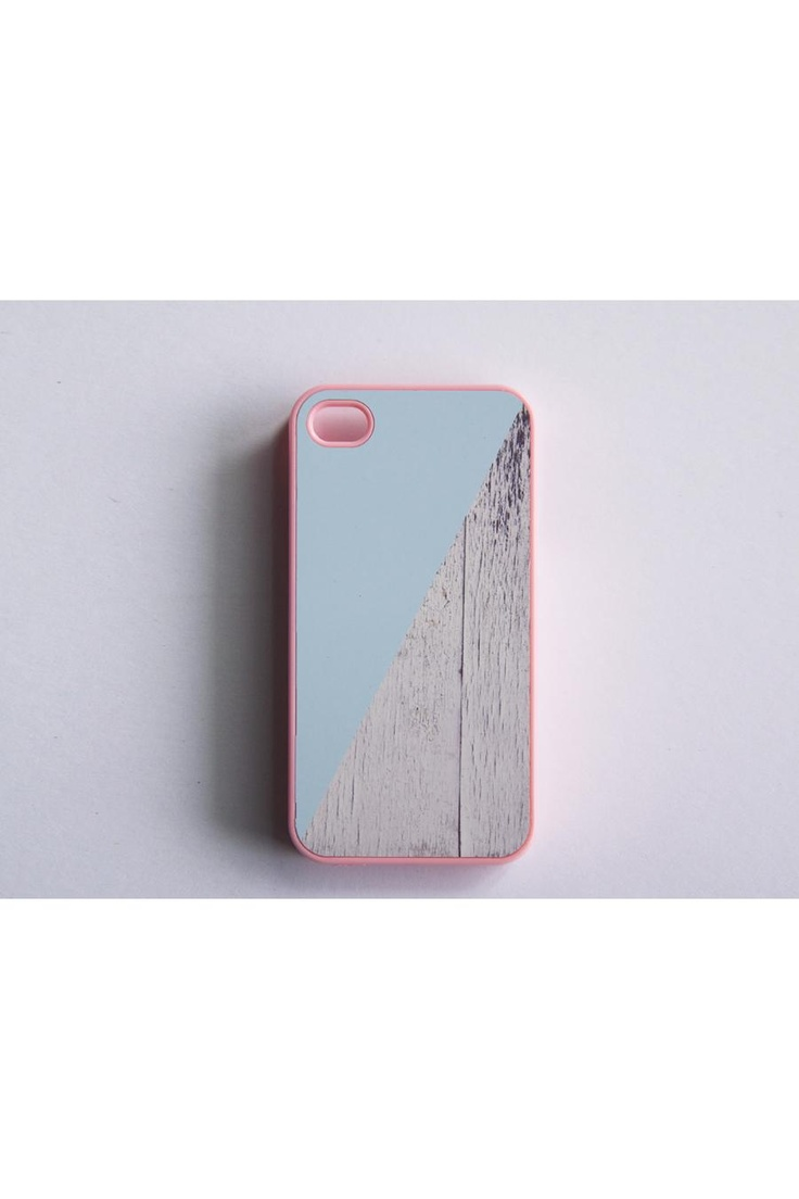 Skyblue Pink And White Wood Color Block iPhone 4 Case