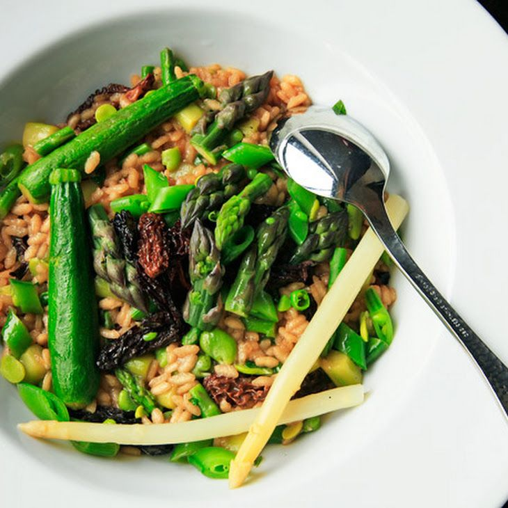 ... Risotto With Asparagus, Zucchini, Fava Beans, Snap Peas, and Morels