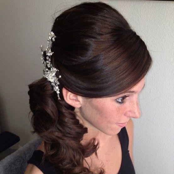 Wedding Curls Side Hair Pony Poof. | Wedding | Pinterest