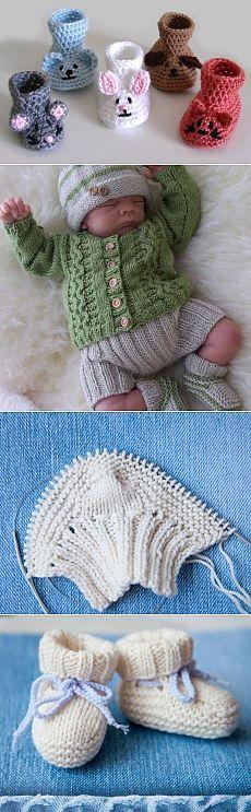 Как самой связать пинетки для новорожденного спицами