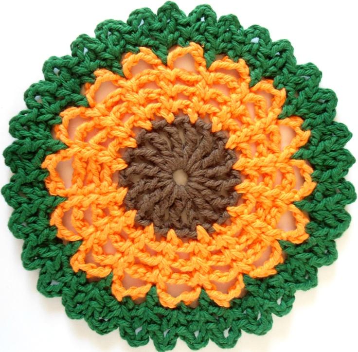 Straw Flower Dishcloth Crochet Pinterest