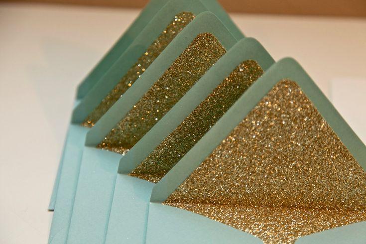 Gold Glitter envelope liners #wedding #envelopes #glitter #glam #turquoise