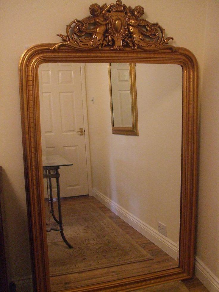 Huge rococo style antique gold full length floor standing for Gold floor standing mirror
