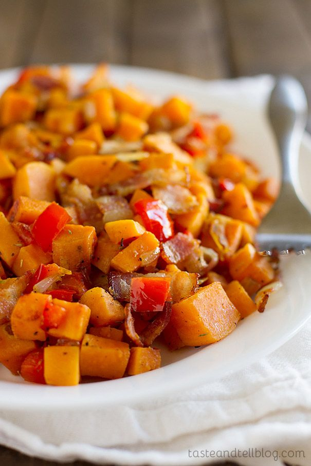 Sweet Potato Hash - sweet potatoes are combined with bacon, onions and ...
