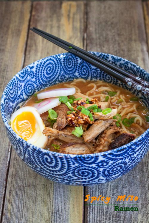 Spicy Miso Ramen with Pan-Fried Pork | National Pasta Month | October ...