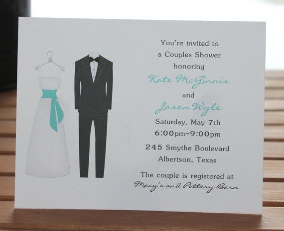 Bride and groom personalized couples bridal shower invitations set