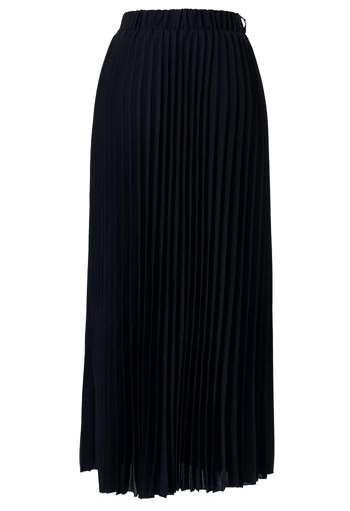 chiffon black pleated maxi skirt fashion