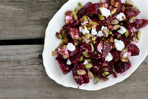 Beet And Goat Cheese Salad With Pistachios Recipe — Dishmaps