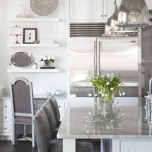 Luxury Silver, Gray, and White Kitchen  Kitchen ideas  Pinterest