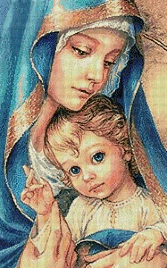 Вышивка крестом мария с младенцем 53
