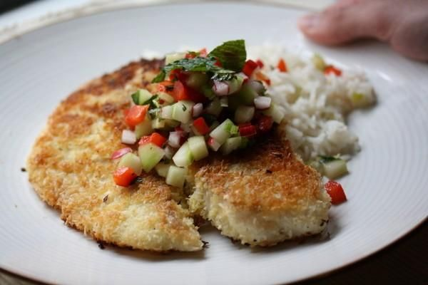 Coconut-Crusted Tilapia with Vegetable-Mint Salsa - Parenting, Love ...
