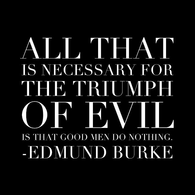 """All that is necessary for the triumph of evil is that good men do nothing."" - Edmund Burke"