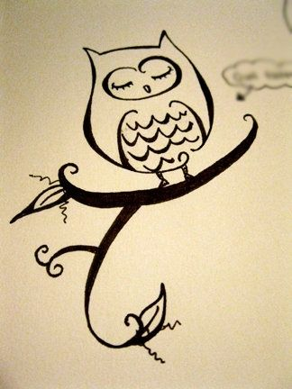 Cute owl love drawing - photo#10