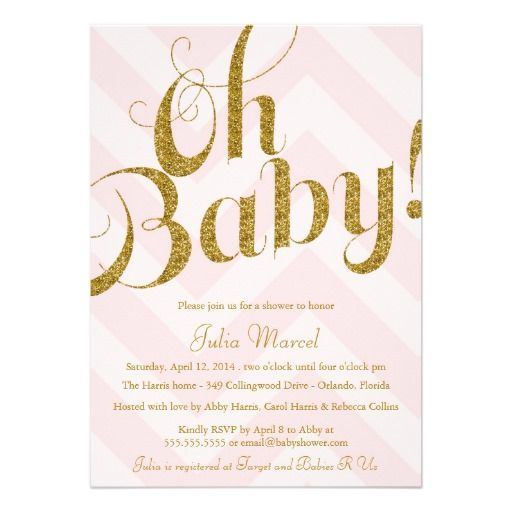 gold glitter pink chevron baby shower invitation created by