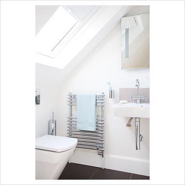 Simple small attic bathroom garage apartment pinterest for Small attic bathroom ideas
