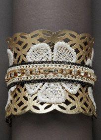 Mixed Media Applique Cuff, Style SB2969 #davidsbridal #jewelry #florals