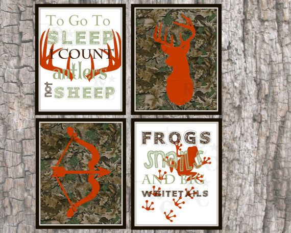 Camo Nursery Wall Decor : Boys kids hunting camo nursery bedroom wall prints