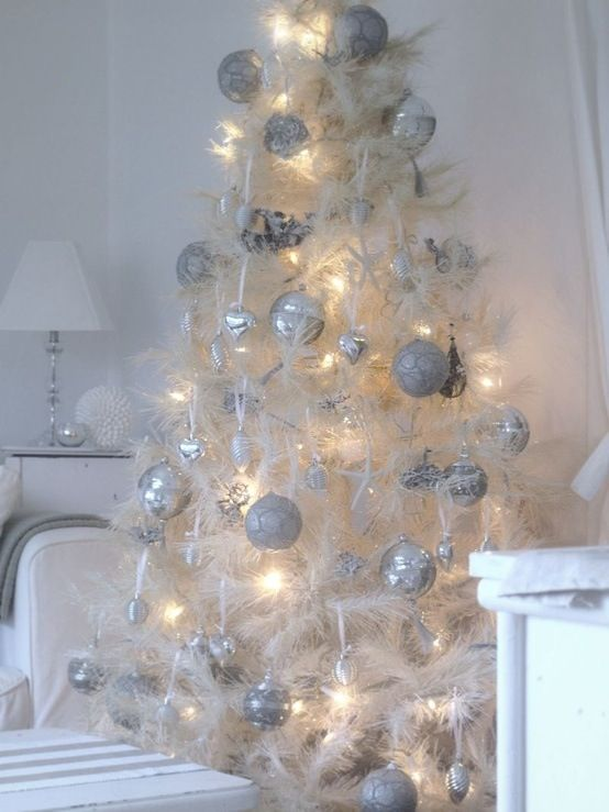 White tree holiday theme ideas pinterest for Pinterest christmas decorations for the home