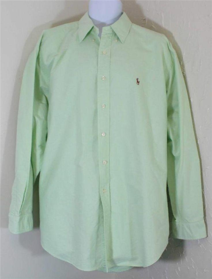 Ralph Lauren Dress Shirt Mens 17 5 Yarmouth Light Green