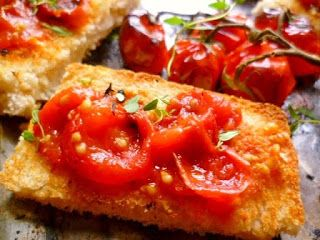 tomatoes on toast (pan con tomate) | Appetizers and Snacks | Pinterest