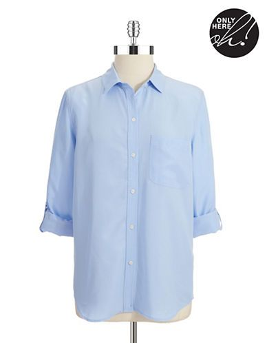 Women's Clothing | Collared & Button Down | Roll Tab Sleeve Button Front Shirt | Lord and Taylor