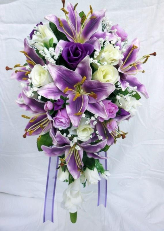 teardrop wedding bouquet purple lillies ivory purple